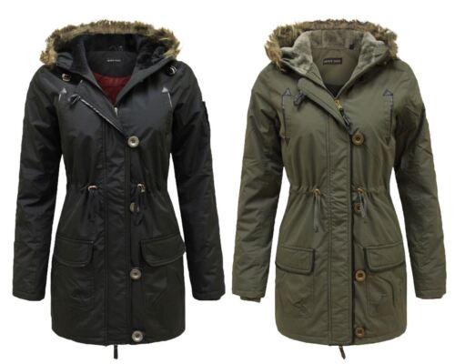 Laidies womens faux fur hooded military parka manteau zippé chaud veste d/'hiver 8-16