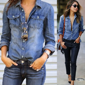 Fashion-Women-039-s-Casual-Blue-Jean-Denim-Long-Sleeve-Shirt-Tops-Blouse-Jacket