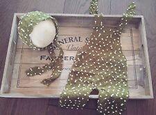 Newborn Green Knitted Dungaree Romper Bonnet Handmade Set Photography Prop Baby