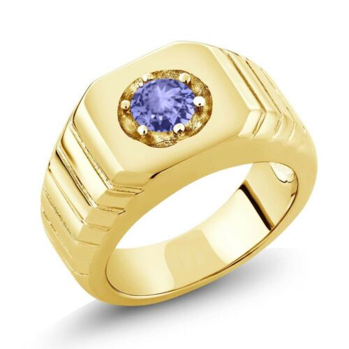 0.46 Ct Blue AAA Tanzanite 18K Yellow Gold Plated Silver Men/'s Solitaire Ring