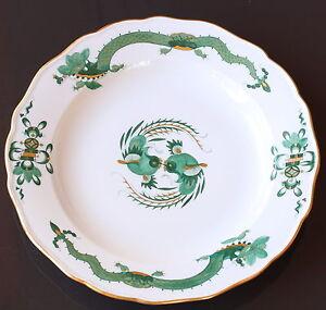 Meissener-Porzellan-Teller-Koenigliches-Meissen-gruener-Drache-gruen-25cm-um-1930