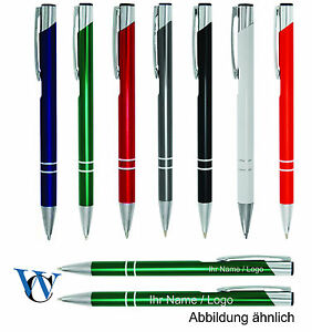 50 Kugelschreiber aus Metall Farbe mit Gravur orange