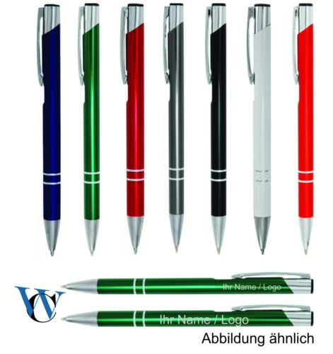 Metallkugelschreiber mit Gravur//graviert einzeilig 50 Stück Kugelschreiber