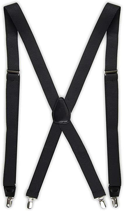 Dockers Adjustable Clip-On Elastic Suspenders Solid Black 1.5