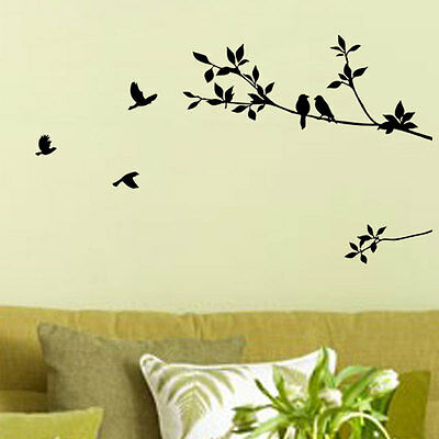 Black Tree Bird Removable Wall Decals Sticker Decal Mural Home Room Art Decor