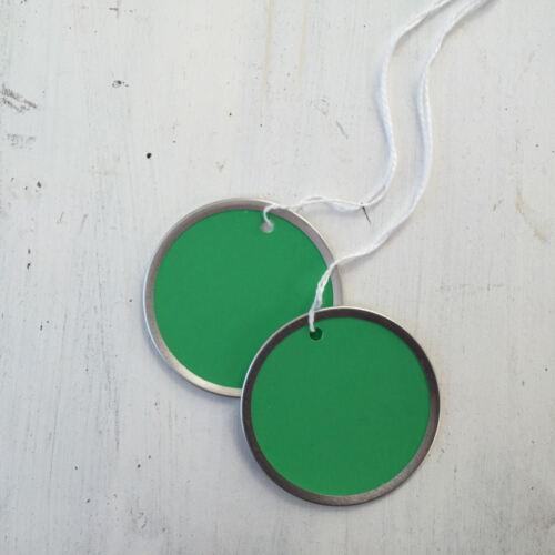 Silver rim Tags Green Round Tags Red 12 Metal Rim Tags