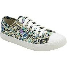 Low Cut High Quality Sneaker Women Floral Casual Shoes F201 WHITE BLUE SIZE 36