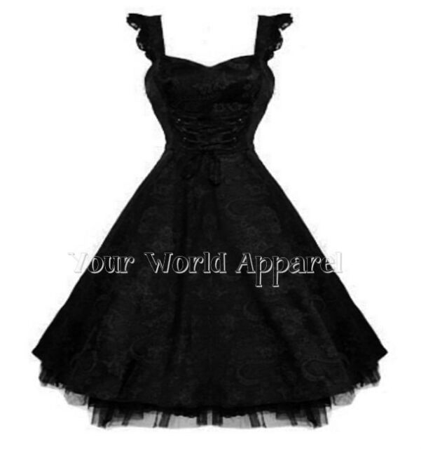 H AND R LONDON BLACK FLORAL BROCADE CORSET DRESS PINUP STEAMPUNK RETRO GOTH 6671