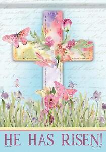 Garden Flag Easter Cross He Is Risen House Flag Decoration Double Sided Flag