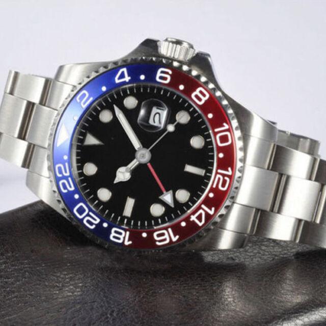 Saphirglas Parnis 40mm Herren Automatische GMT Armbanduhren Uhren Drehlünette