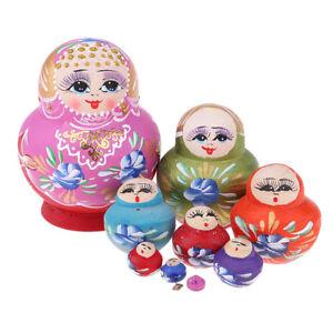 10pcs Colorful Girls Russian Nesting Doll Babushka Matryoshka Stacking Dolls