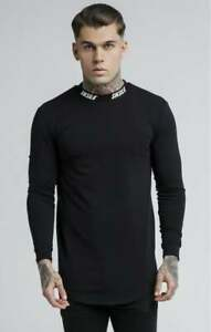 New-Mens-Sik-Silk-Siksilk-King-Long-Sleeve-T-Shirt-Gym-Black-Turtle-Neck-Top-Tee