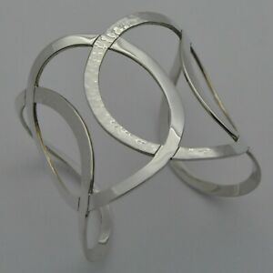 Very-Wide-amp-Heavy-Cuff-Bracelet-in-Plain-amp-Hammered-Solid-925-Sterling-Silver