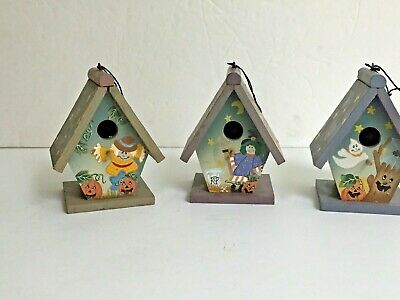 X47189 Set Of 3 Vintage Glass Ornament Halloween Cat Owl Moon Spooky Witches