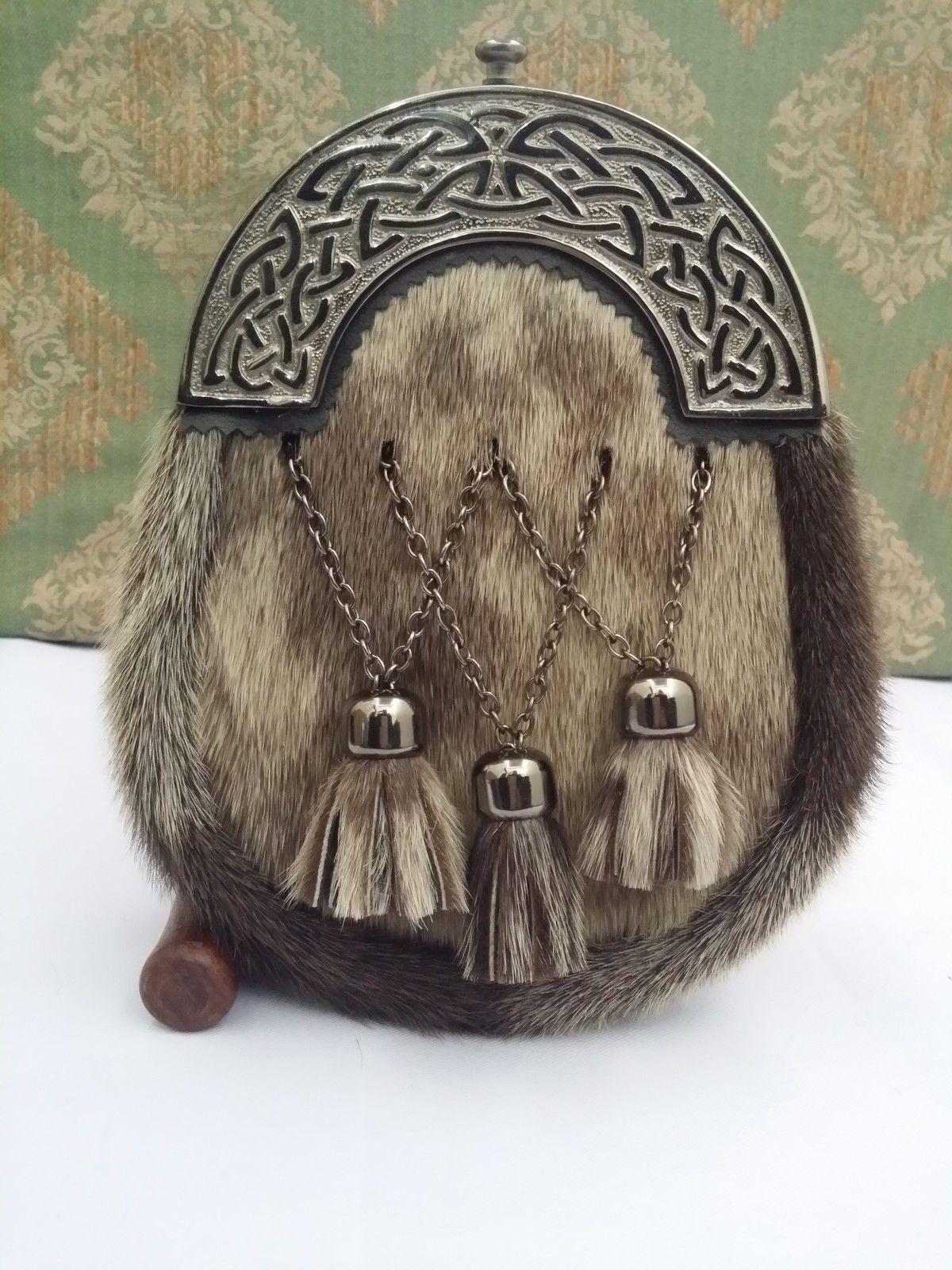 New Full Dress Kilt Sporran Formal Seal Skin Celtic Cantle Antique/Kilt Sporrans