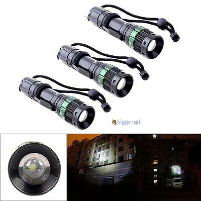 3pcs 3000 Lumen Zoomable CREE XM-L Q5 LED Flashlight Torch Zoom Lamp Light BA