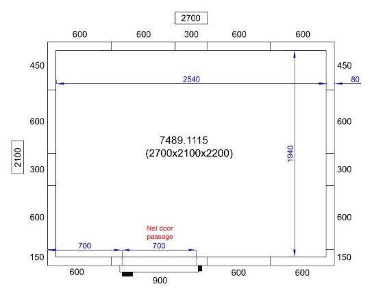 Kølerum 2700x2100x2200 Combisteel