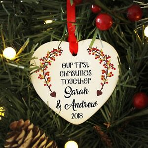 First Christmas Together Personalised Couples Heart Bauble Xmas ...