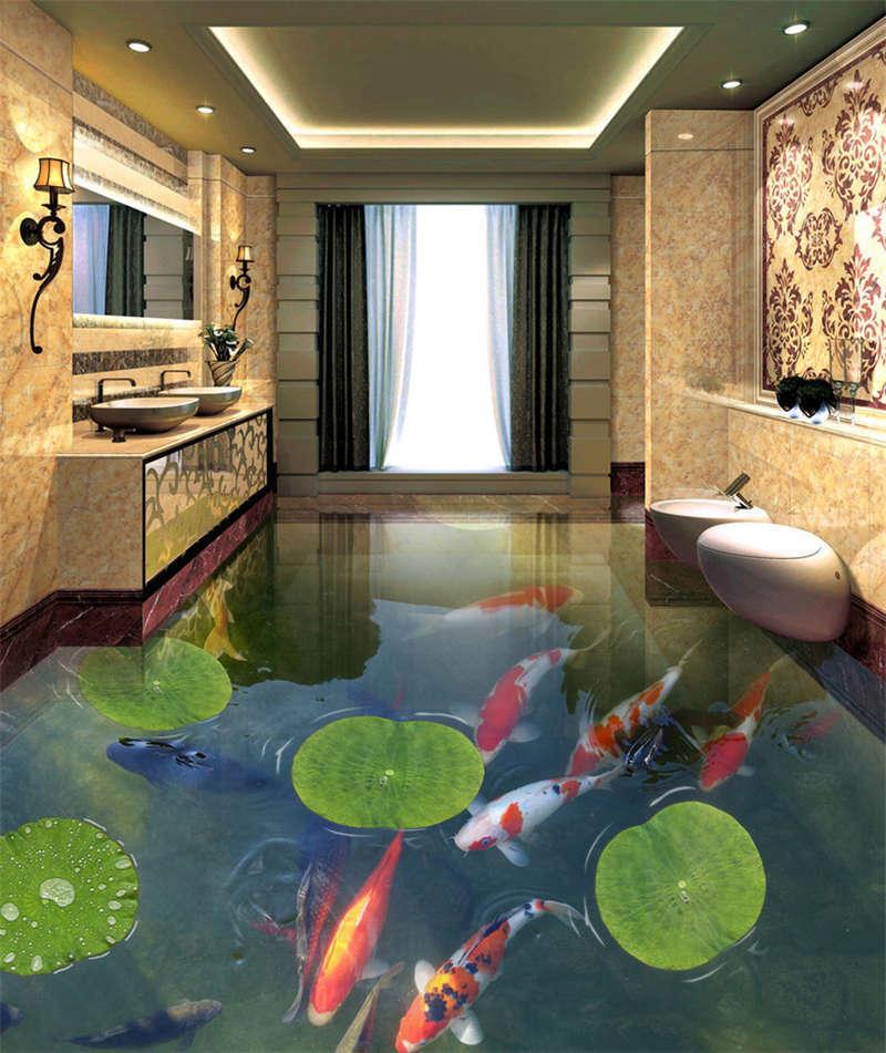 Disengaged Goldfish Lotus 3D Floor Mural Photo Flooring Wallpaper Home Printing