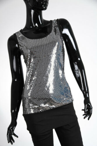 New Ladies Sequin Scoop Neck Top Tunic size 8 10 12 Party Mini Dress 2557A