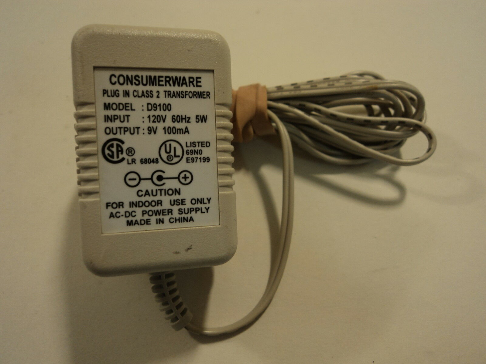 Consumerware Power Adaptor Plug In Class 2 Transformer 9VDC 100mA D9100