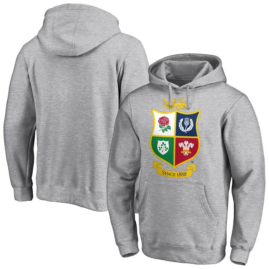 British & Lions Hoodie Men's Rugby Logo Graphic Hoodie - Grey - New