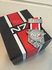 Mass Effect 1 2 3 4 N7 Elite Medal Badge Pin Pinny Silver Metal + Collector BOX