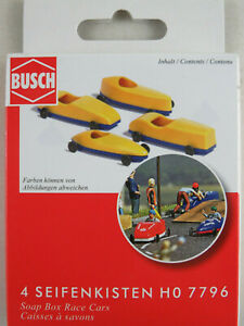 Busch-H0-7796-Seifenkisten-4-Stueck-in-rot-gelb-und-weiss-rot-1-87-H0-NEU-OVP