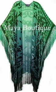 Green-Wearable-Art-Kimono-Caftan-Fringe-Jacket-Burnout-Velvet-Hand-Dyed-Maya