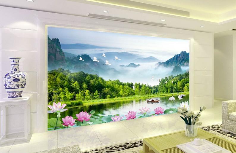 3D Berge Lotus See 864 Tapete Wandgemälde Tapete Tapeten Bild Familie DE Summer | Up-to-date-styling  | Leicht zu reinigende Oberfläche  | Ideales Geschenk für alle Gelegenheiten