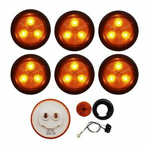"""6 PACK of AMBER LED 2"""" ROUND CLEARANCE/MARKER LIGHTS TRAILER RV FREE SHIP"""