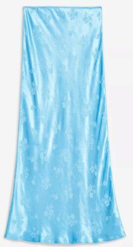 TOPSHOP SIZE 12,14,16,18 STUNNING BLUE FLORAL JACQUARD SATIN BIAS SKIRT BNWT