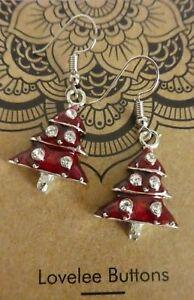 Christmas-Tree-Hook-Earrings-Large-Enamel-Red-Very-Cute