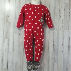 Robe Coral Baby Minnie Mouse Fleece Polka Dots Red White Jacket chamber