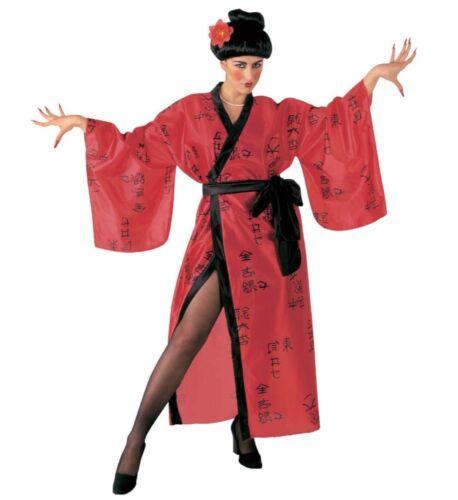 Costume Geisha kimono rosso giapponese taglia unica donna