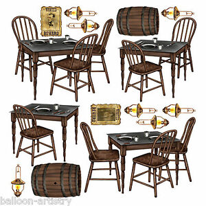 Wild West Saloon Bar Scene Setter Prop TABLES CHAIRS EBay
