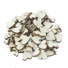 100Pc Assorted Size Natural Wooden Heart Plain Vintage Craft Scrapbook Decor