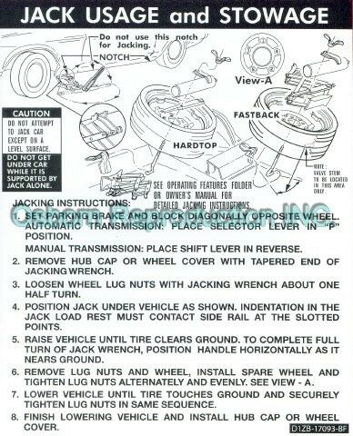 Mustang Jacking Instructions Space Saver Decal 1971 - 1973
