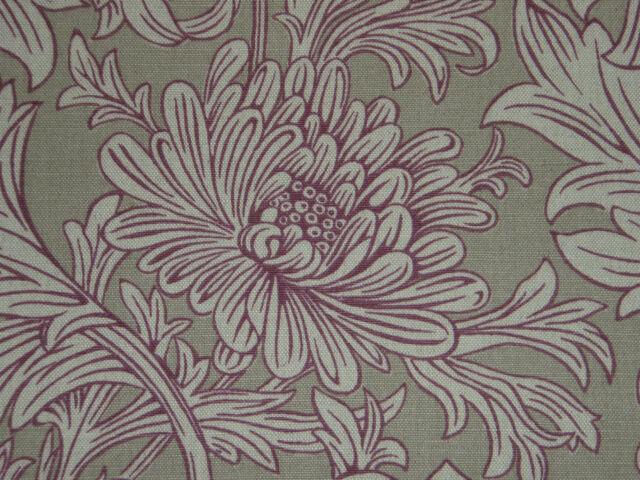 """WILLIAM MORRIS CURTAIN FABRIC  """"Chrysanthemum Toile"""" 3.3 METRES WINE/LINEN 330CM"""