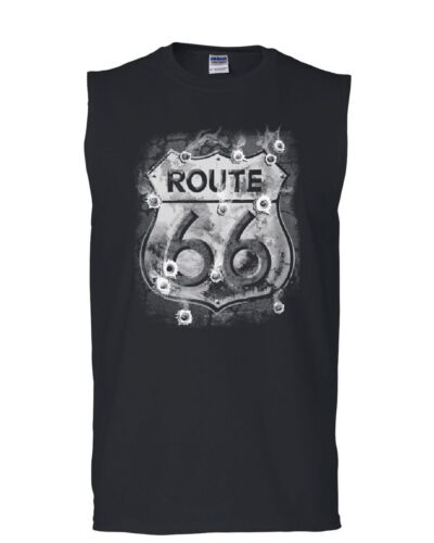 Route 66 Muscle Shirt Bullet Holes The Mother Road American Highway Sleeveless