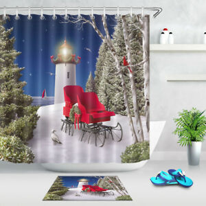 Image Is Loading 72 034 Merry Christmas Lighthouse Bathroom Polyester Fabric
