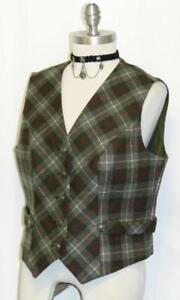 ~ Loden tiro Vest Plaid 10 Waist M Green 741587288343 Lana Riding Austria Caccia Coat AWZUwUqT