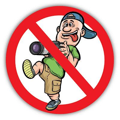 "No Photo Area Funny Cartoon Ban Stop Sign Car Bumper Sticker Decal 5/"" x 5/"""