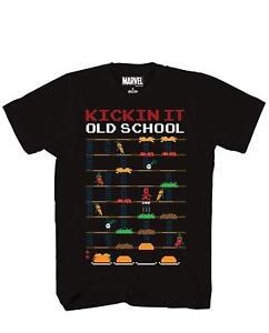 Deadpool-8-Bit-Video-Game-Kickin-It-Old-School-Tee-Adult-Men-039-s-Graphic-T-Shirt