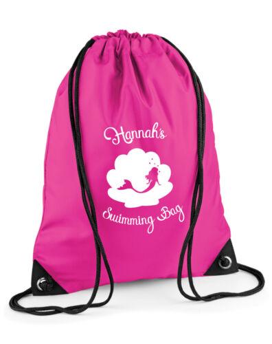 KIDS PERSONALISED SWIMMING BAG GIRLS MERMAID SHELL FUN PULL STRING SWIM KIT