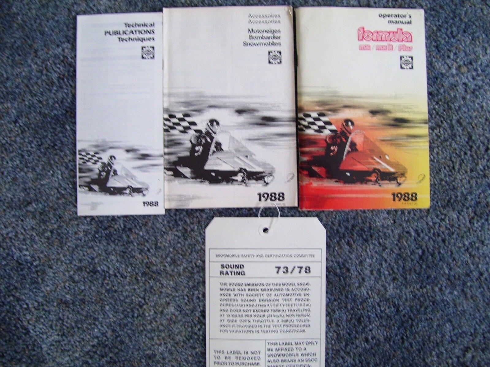 1988 skidoo formula plus mx manual w extras
