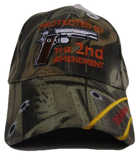 Protected By The 2nd Amendment Gun Rights Bullets NRA Trump Camo Cap Hat