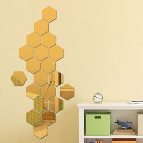 24* Hexagon Mirror Sticker Selfadhesive Mosaic Tiles Decorative Wall Sticker Art