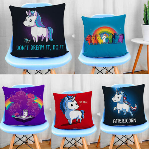 Cute Unicorn Car Sofa Waist Cushion Cover Home Decor Pillow Case Unicorn Pillow