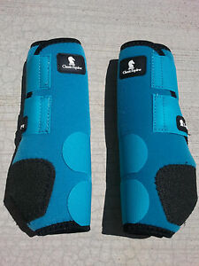classic-equine-legacy-boots-TURQUOISE-FRONT-horse-tack-SMB-sport-medicine-boots